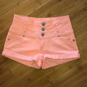 Coral high-waisted shorts